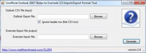 Outlook to Evernote Application Screenshot